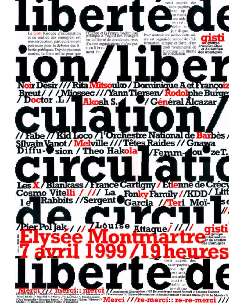 Affiche Concert affiche du concert du 7 avril 1999 - la boutique du gisti
