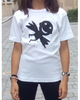 T-shirt femme «Liberté de circulation», en coton blanc à maille élastique