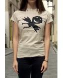 T-shirt femme «Liberté de circulation» en coton BIO écru
